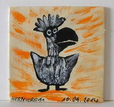 KAKADU von Herbivore11 Unikat Papagei Vogel Comic Minibild Inchie kleine Kunst