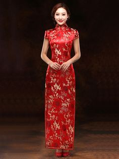 SXQZ-15080 Floral bamboo red brocade cheongsam traditional Chinese wedding dress 006