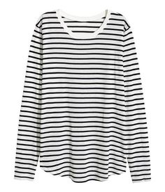 Check this out! Long-sleeved top in soft jersey with narrow ribbing at neckline and a gently rounded hem. - Visit hm.com to see more.