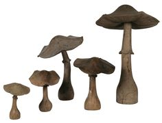 Exceptional Sculptures &  Decorations at Chisholm Gallery, LLC including Charming Hand Carved Mushrooms in Wood ~ please call Jeanne on 845.505.1147