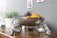 Designer skull fruit bowl  Buy from Amazon here - https://www.amazon.co.uk/Designer-silver-aluminum-height-diameter/dp/B00RWLU7TY/ref=as_li_ss_tl?s=kitchen&ie=UTF8&qid=1487016308&sr=1-62&keywords=casa&linkCode=sl1&tag=mancave-21&linkId=6d5b31e67ae04bd02b38792455764582 #skull #mantiques #mancave