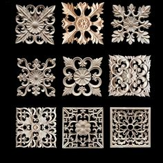 Decorative Wood Appliques Wood Carving Frame For Furniture Cabinet Door  Nautical Home Decor Wooden Figurine Flower Pattern Carve In Figurines U0026  Miniatures ...