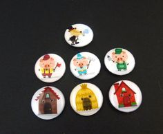 7 Three Little Pigs Buttons. Handmade By Me.  by buttonsbyrobin