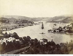 OP07443 Elevated view looking north over the River Dart, with the town of Dartmouth to the left. 1850 - 1920. Please click for more information or to search the collection. Over The River, Dartmouth, Historical Images, Paris Skyline, England, Search, Travel, Collection, Viajes