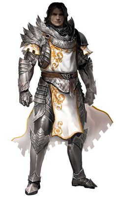 View an image titled 'Seraph Guard Male Art' in our Guild Wars 2 art gallery featuring official character designs, concept art, and promo pictures. Fantasy Male, Fantasy Armor, Medieval Fantasy, Fantasy Heroes, Fantasy Dress, Fantasy Weapons, Dnd Characters, Fantasy Characters, Rpg Warrior