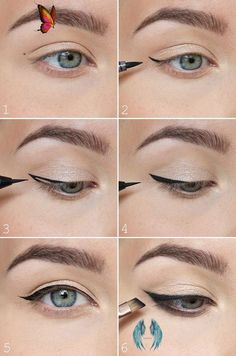 Göz Şekillerine Göre Eyeliner Modelleri | Enpratikbilgiler.com<br> Winged Eyeliner Tricks, Perfect Winged Eyeliner, Eyeliner For Beginners, Eyeliner Looks, Makeup Tips For Beginners, How To Apply Eyeliner, Winged Liner, Easy Eyeliner, Eyeliner Liquid