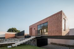 Completed in 2016 in Zapopan, Mexico. Images by César Béjar. Casa G is a family rest house, with a game room and a terrace to host the owner's social activities, located in the northwest area of Zapopan, on a. Brick Architecture, Architecture Office, Residential Architecture, Amazing Architecture, Rest House, Micro House, Beautiful Interior Design, Residential Interior Design, Facade House