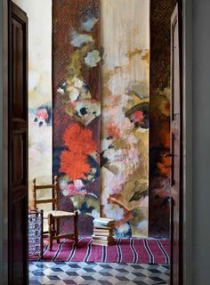 Hand painted wallpapers collection by; Italian artist/designer Elena Carozzi, brilliantly displayed...