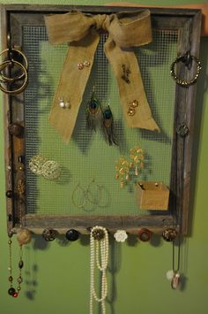 jewelery holder - use cork board for top 3/4 of the frame and push stud earrings into it and use box to put backs into one, rings into another and bracelets into a 3rd