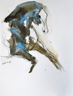 Equine Nude 73 - Black chalk and watercolor Horse Drawing