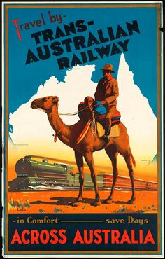 1933 Australia Trans Australian Railway Travel Poster : Antique 1933 Australia travel poster by James Northfield promoting the Trans Australian Railway. australia,vintage australia,australia travel poster,australian tourism,Australian National Travel As Vintage Advertising Posters, Vintage Travel Posters, Vintage Advertisements, Vintage Ads, Art Vintage, Vintage Canvas, Vintage Images, Vintage Designs, Old Poster