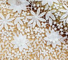 Weiße Blumen Applikation Spitze Stoff-3D floralen