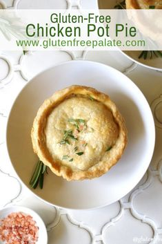 A delicious Gluten-Free Chicken Pot Pie made from scratch using chicken, carrots, onion, peas and a creamy, smooth gravy like sauce. #glutenfree #chickenpotpie