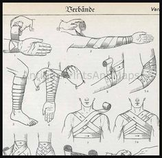 First Aid Medical How To Apply Bandages antique print. Good to know for some of my stories ♡KB Survival Life Hacks, Camping Survival, Survival Prepping, Emergency Preparedness, Survival Gear, Survival Skills, It Wissen, Arte Ninja, Poses References