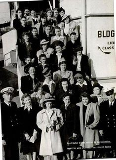 Pearl Harbor widows enlisted by the government report for work at a West Coast air factory. February 1942