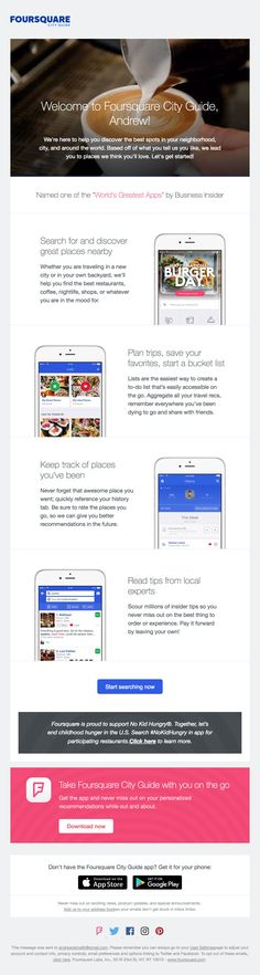 Subject Line: Welcome to Foursquare City Guide Email Marketing, Digital Marketing, Welcome Emails, Email Design, Trip Planning, Save Yourself, Four Square, How To Plan, Reading