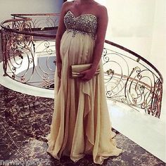 Crystal Beaded Pregnant Evening Dress Long Prom Pageant Maternity Reception Gown