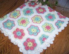 New Crocheted Cheerful Spring Flowers Baby Afghan