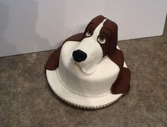 Fondant Covered Rice Krispie Modeled Basset Hound Head On 8 Inch Fondant Covered Cake For My Sisters Basset Hound Rescue Organization. Basset Hound Rescue, Cake Cover, Rice Krispies, Yummy Cakes, Fondant, Cooking Recipes, Cake Ideas, Desserts, Organization