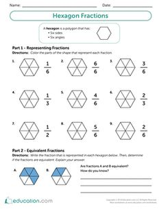 Use this fun math resource with your students to integrate geometry and fractions. Your students will use hexagons to enhance their understanding of fractions by creating their own visuals. Geometry Worksheets, Fractions Worksheets, Printable Worksheets, Printables, Fun Math, Math Games, Third Grade Math, Math Skills, Math Resources