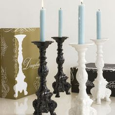 Dauphine Candlesticks - black + white + blue theme $62.95