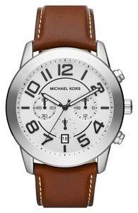 Michael Kors 'Mercer' Large Chronograph Leather Strap Watch, 45mm | Hukkster