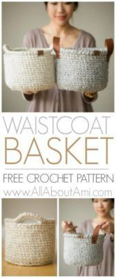 Crochet Diy Waistcoat Crochet Basket - Crochet this sturdy basket using the beautiful waistcoat stitch also known as center single crochet! Add leather or crochet handles! Crochet Diy, Crochet Unique, Gilet Crochet, Crochet Simple, Crochet Storage, Crochet Gratis, Crochet Pillow, Crochet Stitches, Crochet Waistcoat