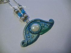 The Mermaids Tail pearl & turquoise polymer clay jewelry pendant necklace charm handmade one of a kind