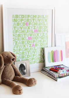 cute! different colors based on kid's room colors. name spelled out as well. (Black and red???)