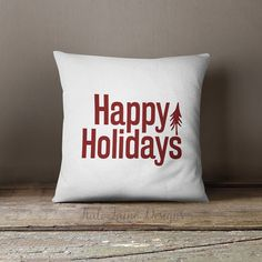 Happy Holidays / Christmas Throw Pillow Case by KaliLaineDesigns