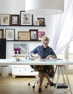 office or sewing room.....love how its really white with touches of color