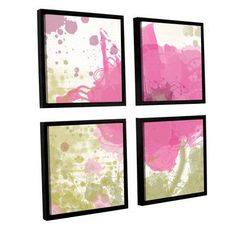 """ArtWall """"Modern Pink"""" by Irena Orlov 4 Piece Framed Painting Print Set Size:"""