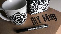 Miss Adventurenaut: DIY Mug Art;  This tutorial uses a dishwasher safe pen!