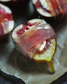 Prosciutto Figs stuffed with goat or blue cheese, wrapped with prosciutto, roasted with a drizzle of honey.Figs stuffed with goat or blue cheese, wrapped with prosciutto, roasted with a drizzle of honey. Food For Thought, Prosciutto Appetizer, Fig Appetizer, Cooking Recipes, Healthy Recipes, Lasagna Recipes, Lentil Recipes, Ham Recipes, Roast Recipes