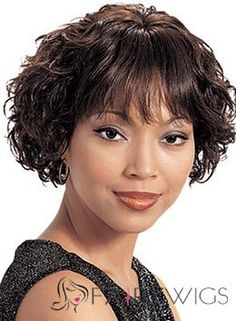 Chic Short Wavy Sepia Full Bang African American Wigs for Women 10 Inch