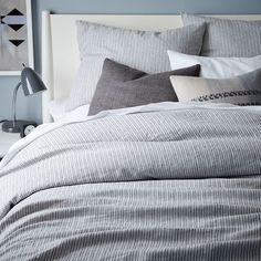Striped Belgian Flax Linen Duvet Cover + Shams | west elm