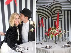 The striped lanterns and tent walls create a 3D effect. #StripedWeddingTent #StripedLanterns