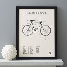 'anatomy of a bicycle' screen print by anthony oram | notonthehighstreet.com
