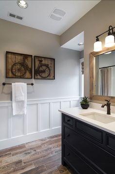Bathroom. Boys Bathroom Design Ideas. Great kids' bathroom with painted furniture vanity, wood-like tiles, wainscot, bat & board and quartz slab countertops. #Bathroom #BoysBathroom