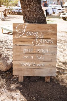 Gorgeous Rustic Wedding. Lots of great ideas! Giant Jenga, Corn Hold and Horse Shoe Lawn Games for the wedding. Marlowe-Lane.com