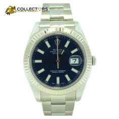 Rolex DateJust II Stainless Steel 18k White Gold Blue Stick Dial 116334 Watch #rolex #datejust #white #gold #blue #dial #watch