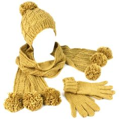 Winter 3pc Set Knit Pom Pom with Gold Beanie Skull Ski Cap Hat Scarf Gloves Camel