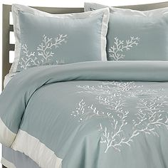 Aqua blue cotton pique comforter set with lovely coral motif embroidery adds a serene beauty to your bed.