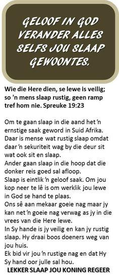 Geloof in God Afrikaans Quotes, Bible Studies, Kos, Bible Verses, Religion, Study, Dress, Studio, Gowns