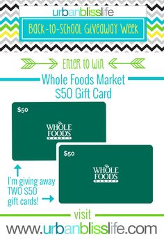 Enter to win one of 2 $50 Whole Foods Market Gift Cards   @UrbanBliss
