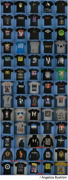 My band merch, 2009-2014 :) All shirts bought at concerts. The ones in the red square are bought at the bands' webstores.  Hollywood Undead, Fall Out Boy, Mindless Self Indulgence, Hawthorne Heights, One Direction, An Cafe, Girugamesh, Miyavi, LM.C, Kent, Adam Lambert, 5 Seconds Of Summer, Blood On The Dance Floor, Lady GaGa, Miley Cyrus, 30 Seconds To Mars, Justin Bieber, Tokio Hotel, Silverstein, Blondie, Avicii, Nine Inch Nails, Owl City, YOHIO, Pitbull, Jedward, The Used... and many…