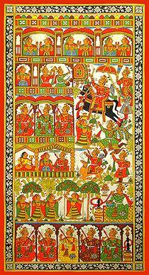 Kalyan Joshi - Marriage of Pabuji @ Phad Chitra : Soul of Rajasthan Indian Traditional Paintings, Indian Art Paintings, Traditional Art, Ancient Indian Art, Indian Folk Art, Madhubani Art, Madhubani Painting, Phad Painting, Rajasthani Art