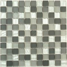 "Exacto Charcoal 1"" x 1"" Grey Backsplash Glossy & Frosted Glass - tile - Glass Tile Oasis"