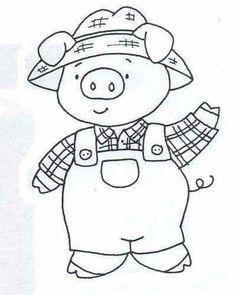 Embroidery Transfers, Embroidery Art, Cross Stitch Embroidery, Embroidery Patterns, Machine Embroidery, Three Little Pigs, This Little Piggy, Coloring Books, Coloring Pages