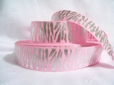 "3 YDS Grosgrain Ribbon 1"" Pink with Silver Metallic Zebra Stripes. $2.79, via Etsy.      i LOVE this ribbon, it's SO cute! I wish i had it!!!"